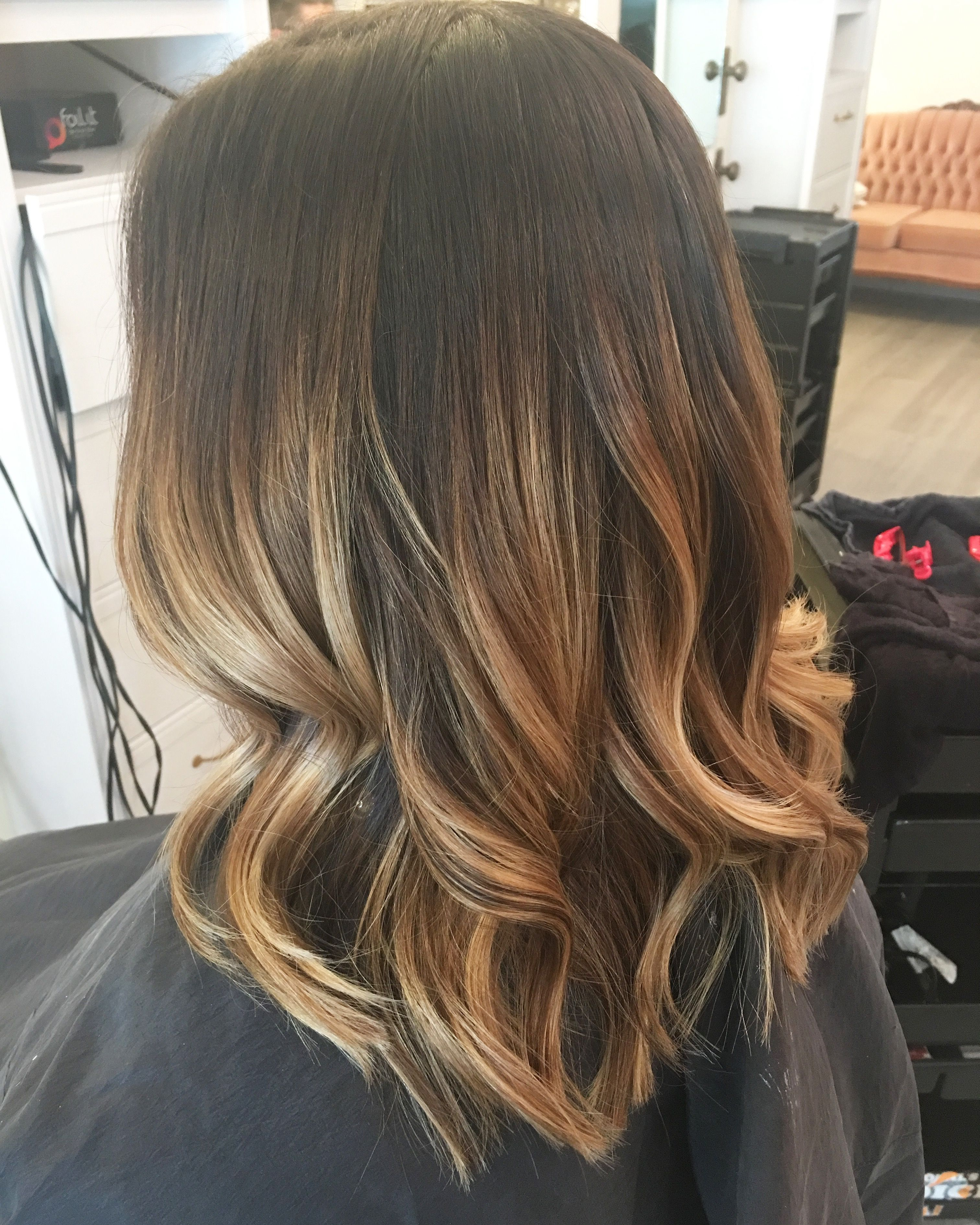 Blonde balayage caramel warm tones dark roots brunette curls lob short haircut summer haircut - Balayage blond caramel ...