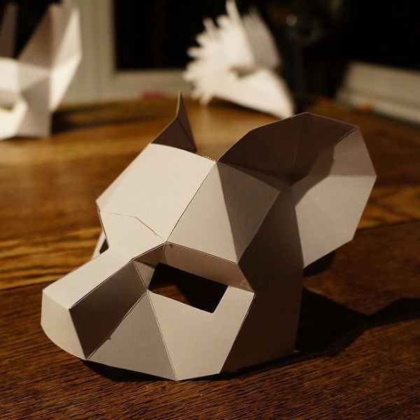 These Plans Enable You Turn Any Recycled Card Into A Low Polygon Bear Half  Mask. Just Print The Templates On Paper, Stick Them To Card, Cut Them Out,  ...  Paper Face Mask Template