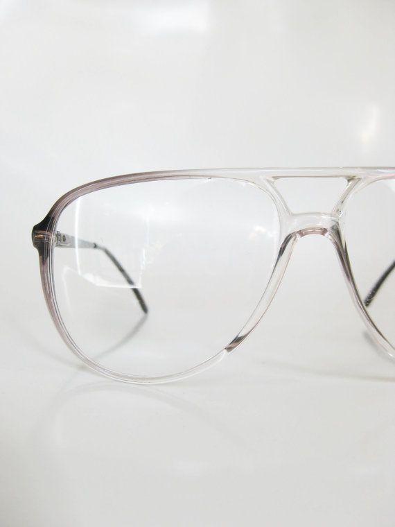 ce5b7629a29 Italian Aviator Eyeglasses Vintage 1970s Mens Glasses Sunglasses Smoke Grey  70s Oversized Boxy Double-Bridge Hip Hop Style Authentic Retro