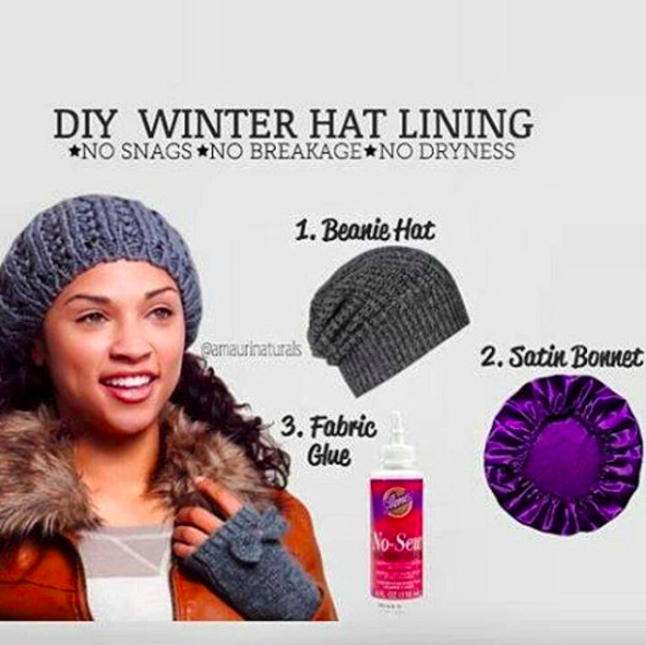 904d90a9cd311 Sew a satin bonnet on the inside of your beanie to keep it from absorbing  your natural oils and preventing your hair from breaking in the cold