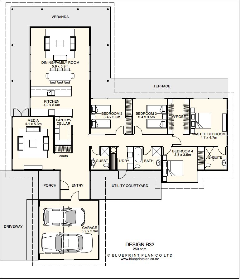 T shaped plan with four bedrooms House plan 1 Pinterest Bedrooms