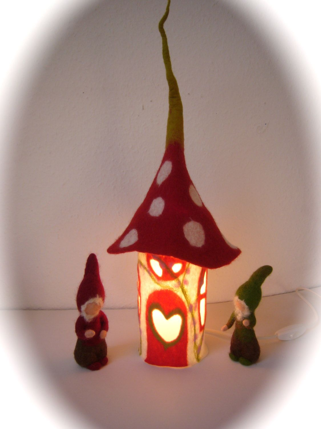 Table lamp cover toadstool house wet feltedfairy lightbedside table lamp cover toadstool house wet feltedfairy lightbedside geotapseo Images