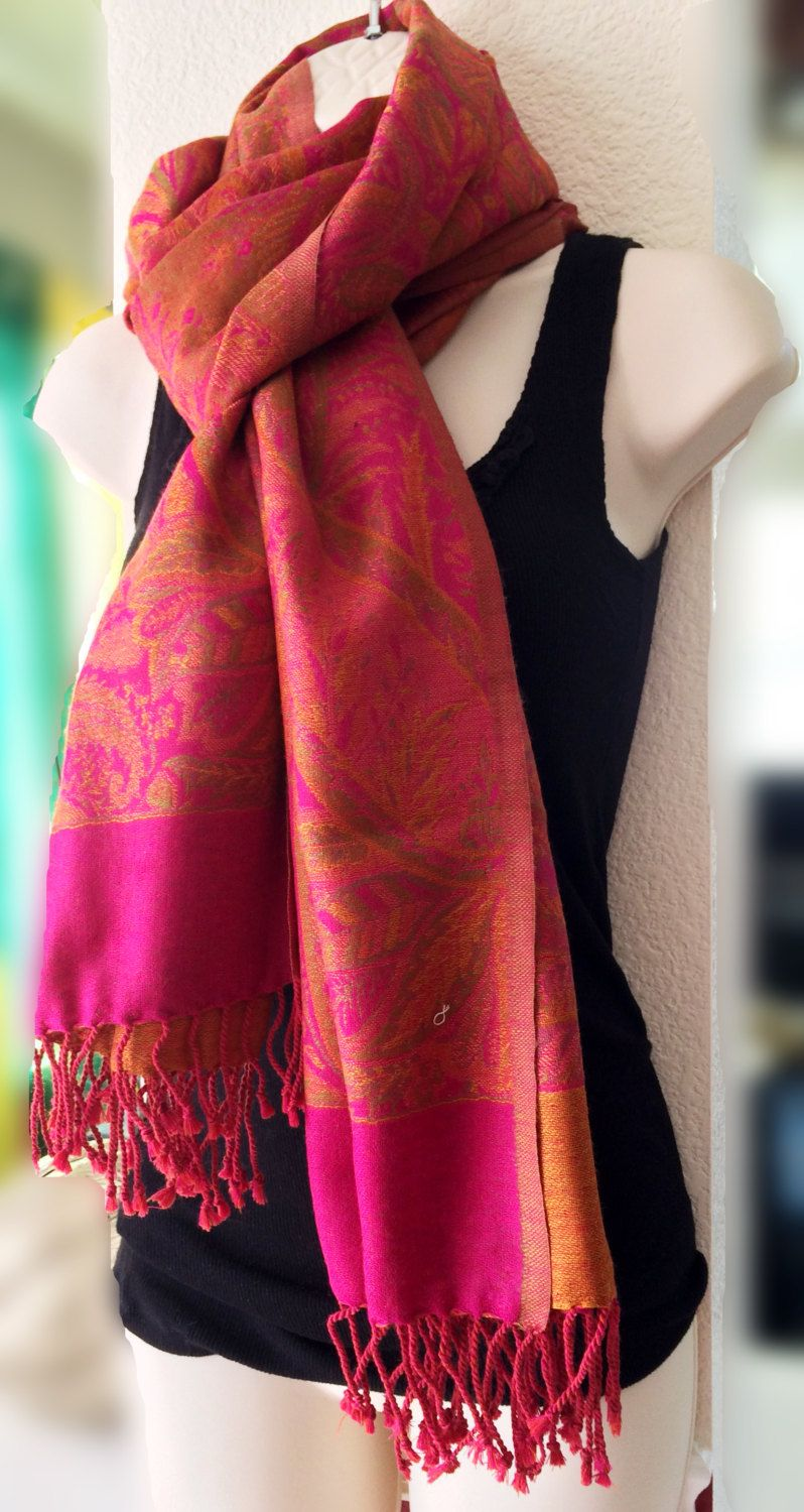 c7ab58005 Paisley Pashmina Shawl,Hot Pink and Orange Large Shawl,100% Pure Pashmina  Wool Wrap,kashmiri shawl,Scarf,rebozo,Indian Paisley Shawl by  ShawlsnScarves on ...