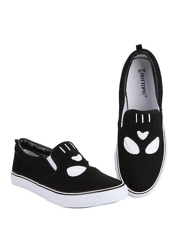 Skull Face Slip-On Sneakers, BLACK