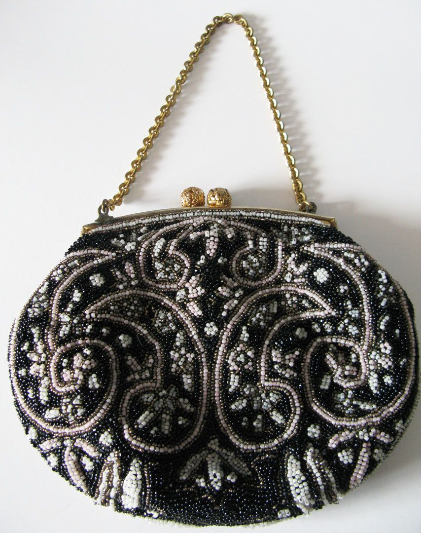 Vintage 40's french glass beaded paisley evening bag purse ...