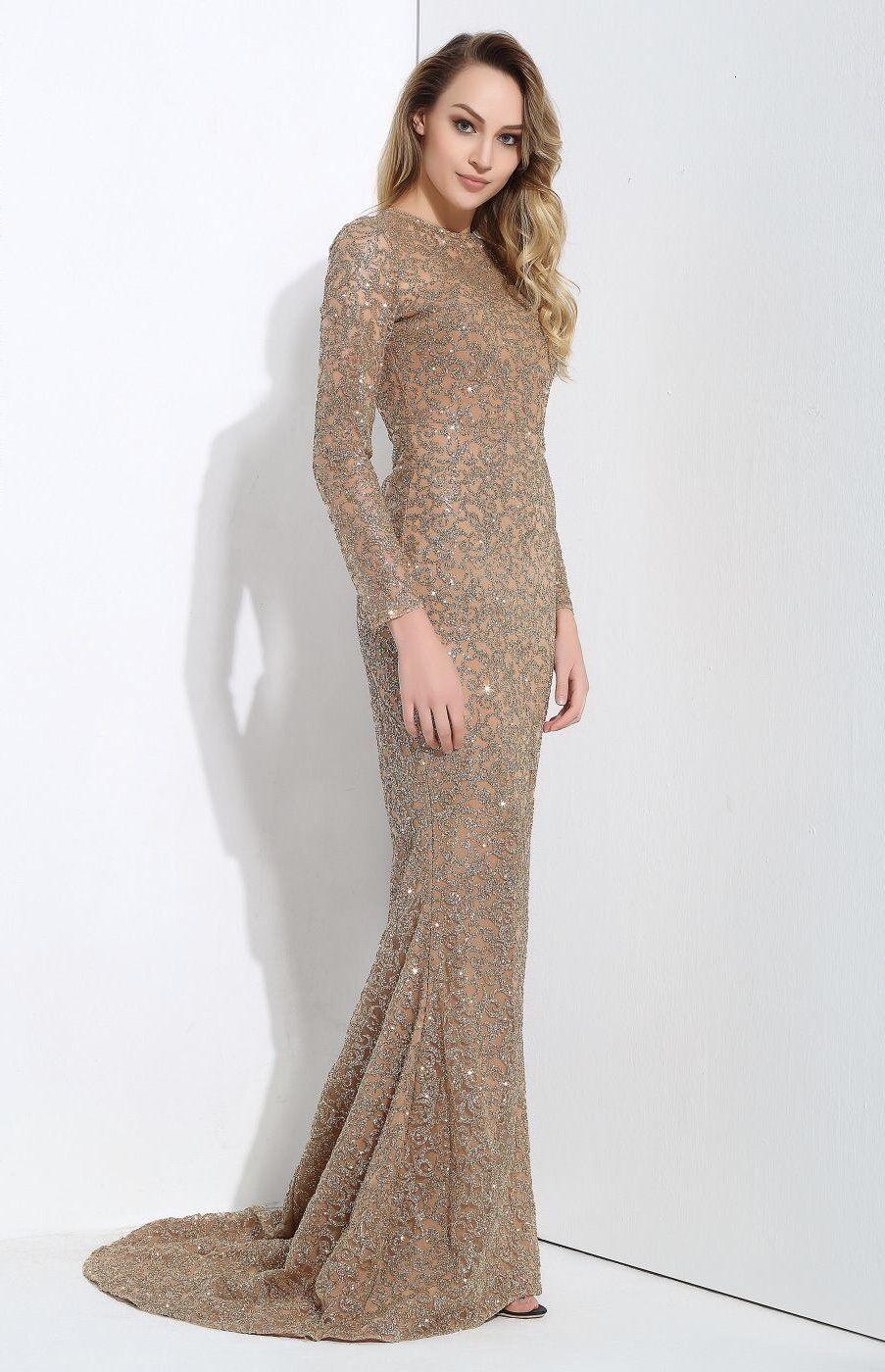 Allure gold glitter embellished long sleeve fishtail maxi dress
