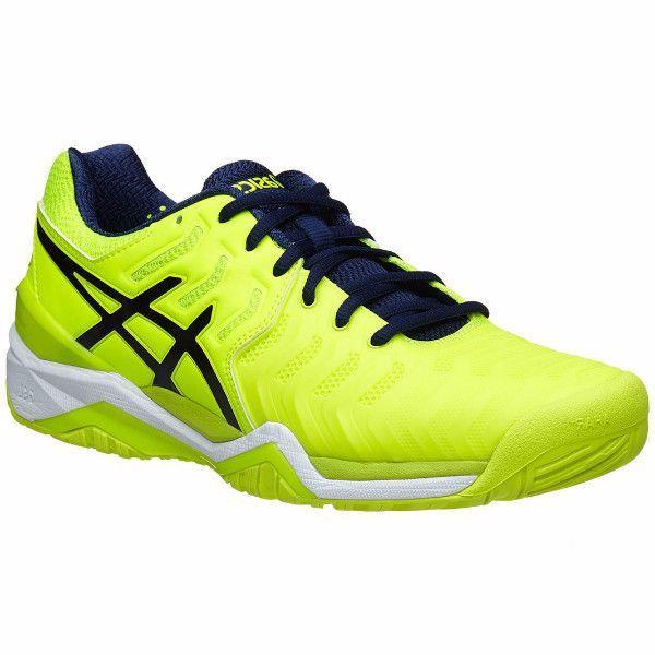 watch a3a8a c8a83 Asics Gel Resolution 7 Safety Yellow Indigo Blue White Men s Shoes