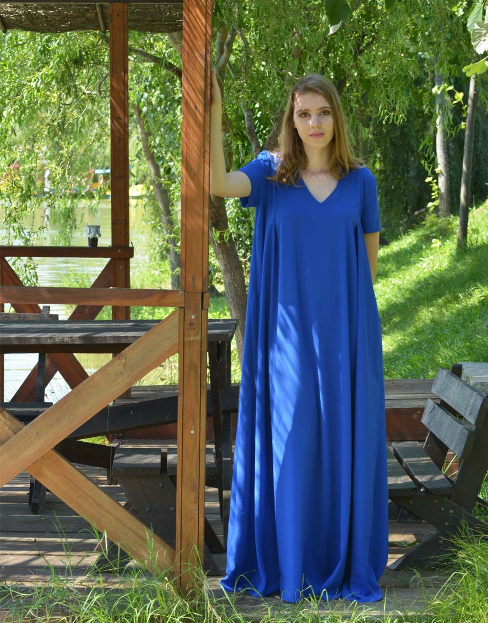 Cobalt blue dress women kaftan dress long maxi dress blue dress