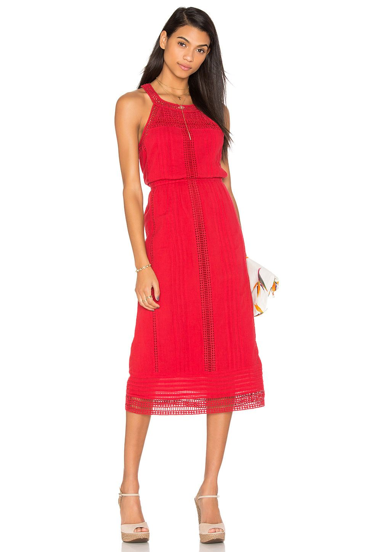 Nwt 328 Joie Dance Red Halter Eyelet Midi Dress Crochet Lace Panels Xs S M Dresses Midi Dress Fashion