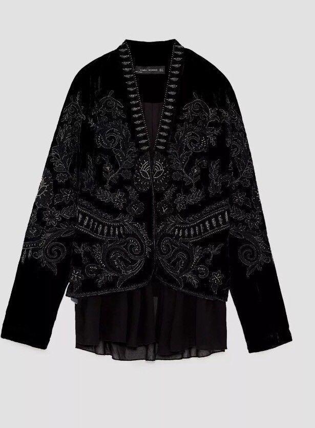 Velvet Zara Beaded Embroidered Coat Blazer Ruffle Jacket Embellished qwPHnfxwt