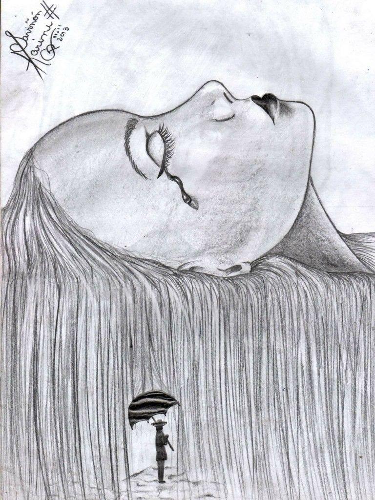 Desenho Grafite Realista Surrealista Kdcp Mulher Chuva Desenho