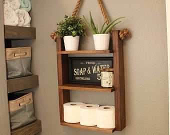 Hanging Bathroom Shelves Hanging Bathroom Shelf  Rustic Shelf  Bathroom Ladder Shelf Wood