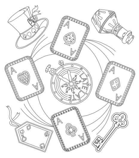 Alice in wonderland free downloadable coloring page illustration