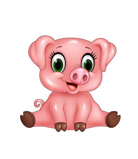 Cute Pink Pig Cartoon Vector