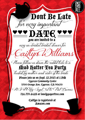 mad hatter 39 s tea party bridal shower invitation by