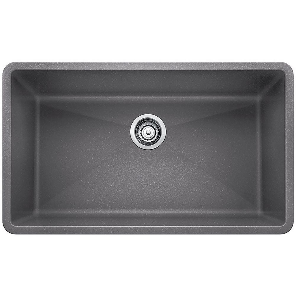Blanco Precis Undermount Granite Composite 32 In Single Bowl Kitchen Sink Metallic Gray 440148 The Home Depot Grey