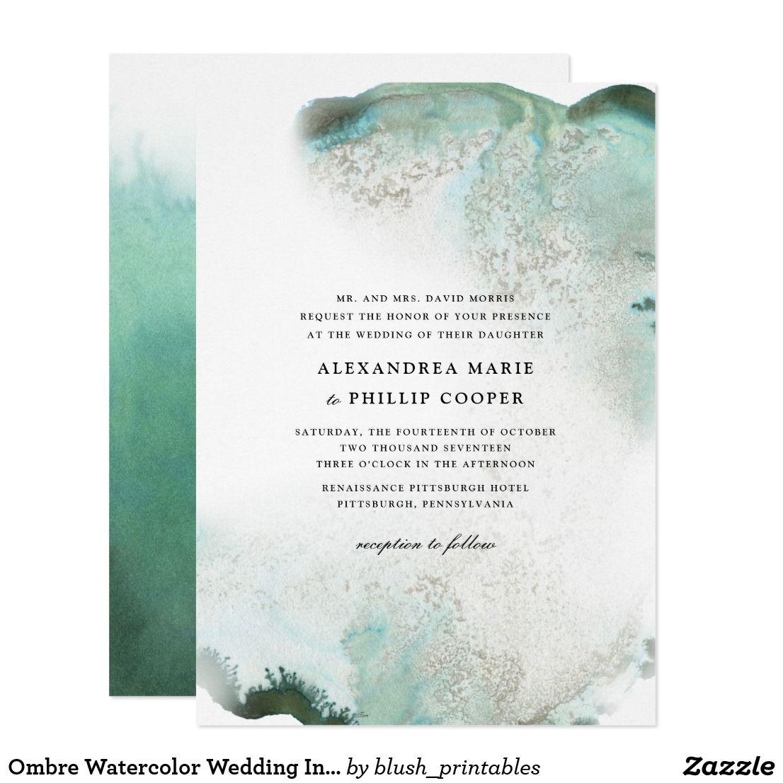 Ombre Watercolor Wedding Invitation Suite Green Zazzle Com