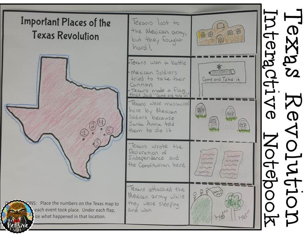 Map Of Texas For 4th Grade.4th Grade Texas Revolution Alamo Interactive Notebook