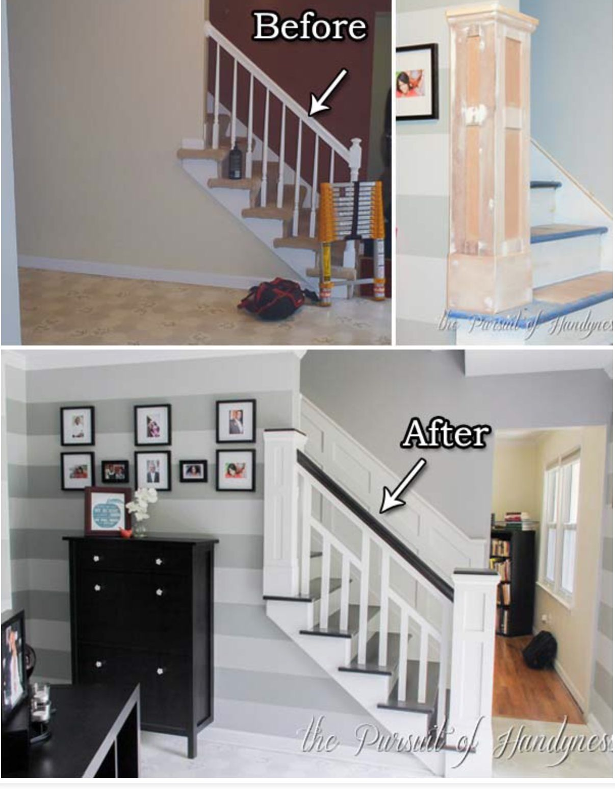 Entry wall and stairs upgrade | New House Remodel | Pinterest ...