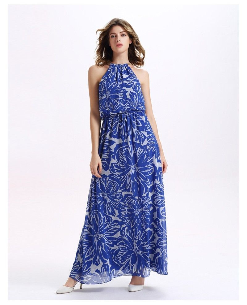 Floral print wedding dresses  High Neck Floral Print Chiffon Maxi Holidays Dress  Wedding dress