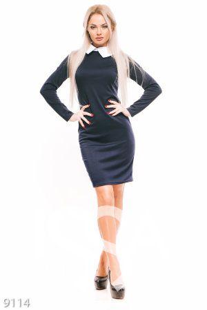 da62c9da60e Синее платье по фигуре с белым отложным воротничком