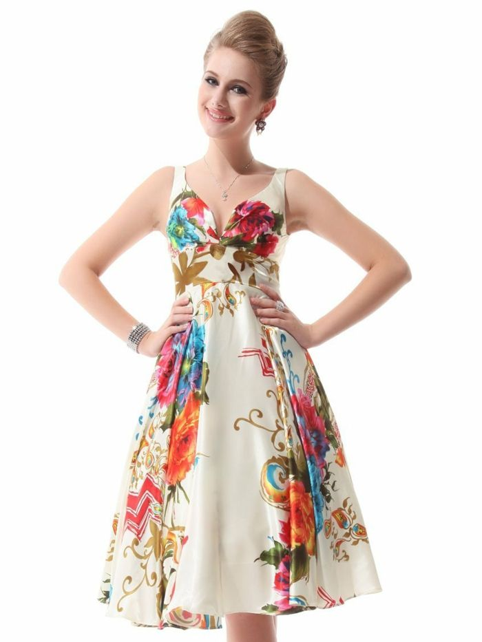 Ever-Pretty Womens Double V-Neck Floral Printed Satin Short Party Dress 03381