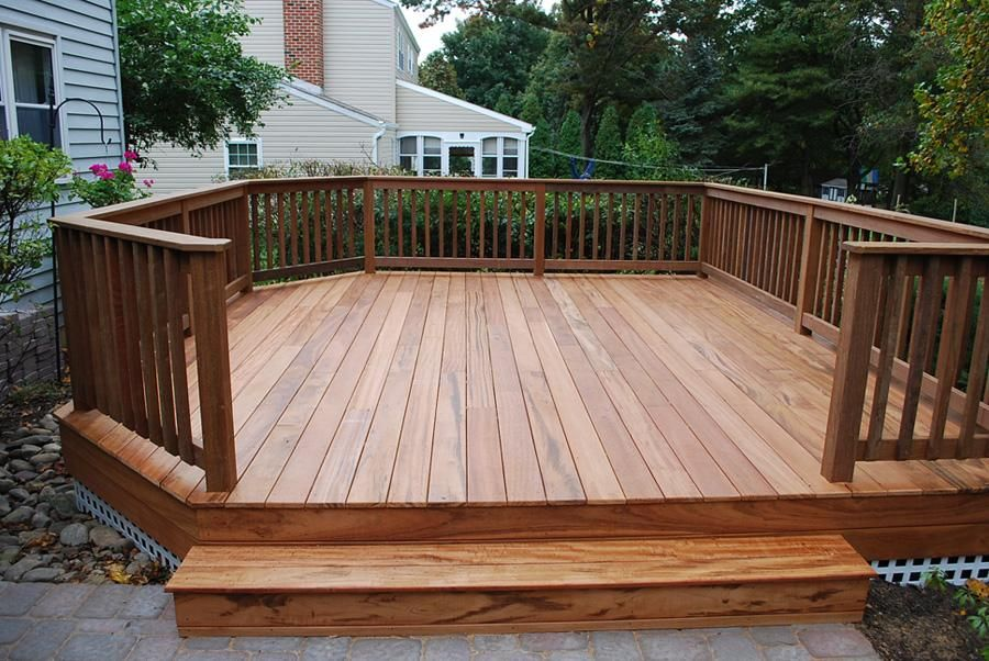 Free standing tigerwood deck with ipe railings west for Free standing hot tub deck