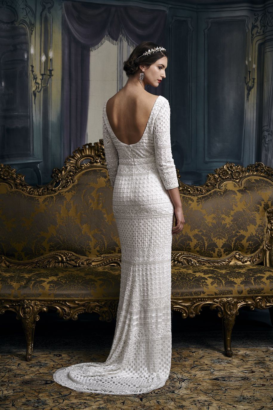 Vintage inspired old school hollywood glamour beaded wedding dress ...