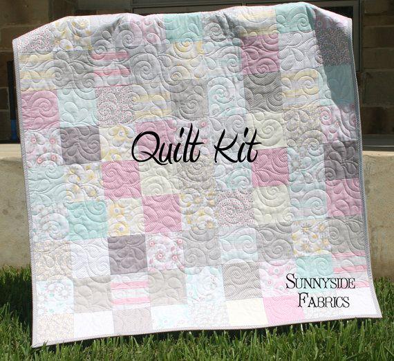 Quilt Kit Willow Baby Girl Patchwork Crib by SunnysideFabrics ... : baby patchwork quilt kits - Adamdwight.com