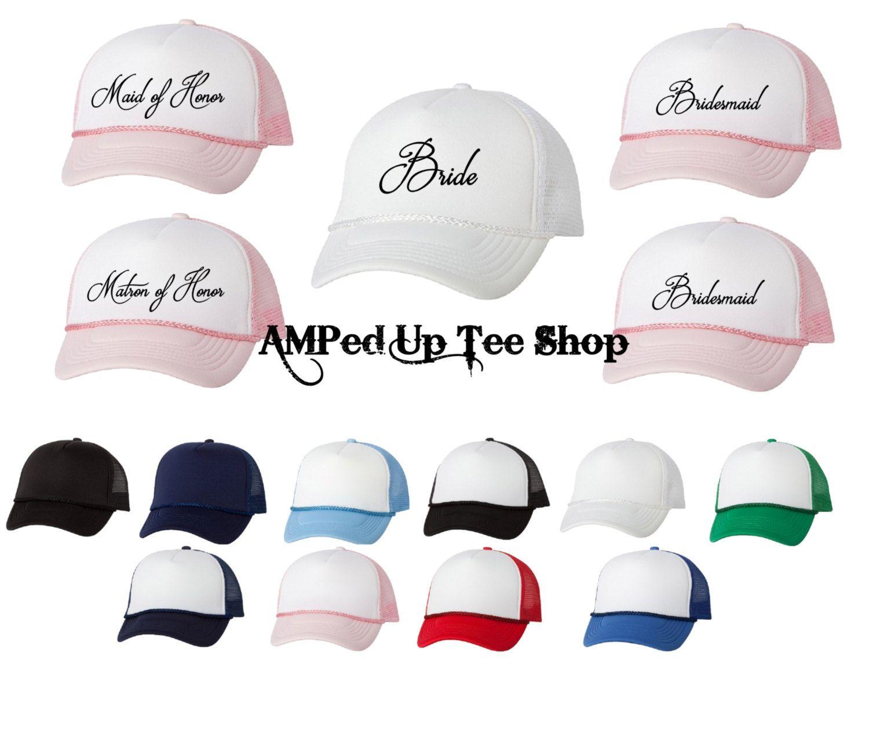 Bridesmaid Trucker Hats, Bride Shirt, Bride & Co, Bridesmaid Hats, Bridal Party Hats, Bachelorette Party Shirts, Wedding Shirts by AMPedUpTeeShop on Etsy
