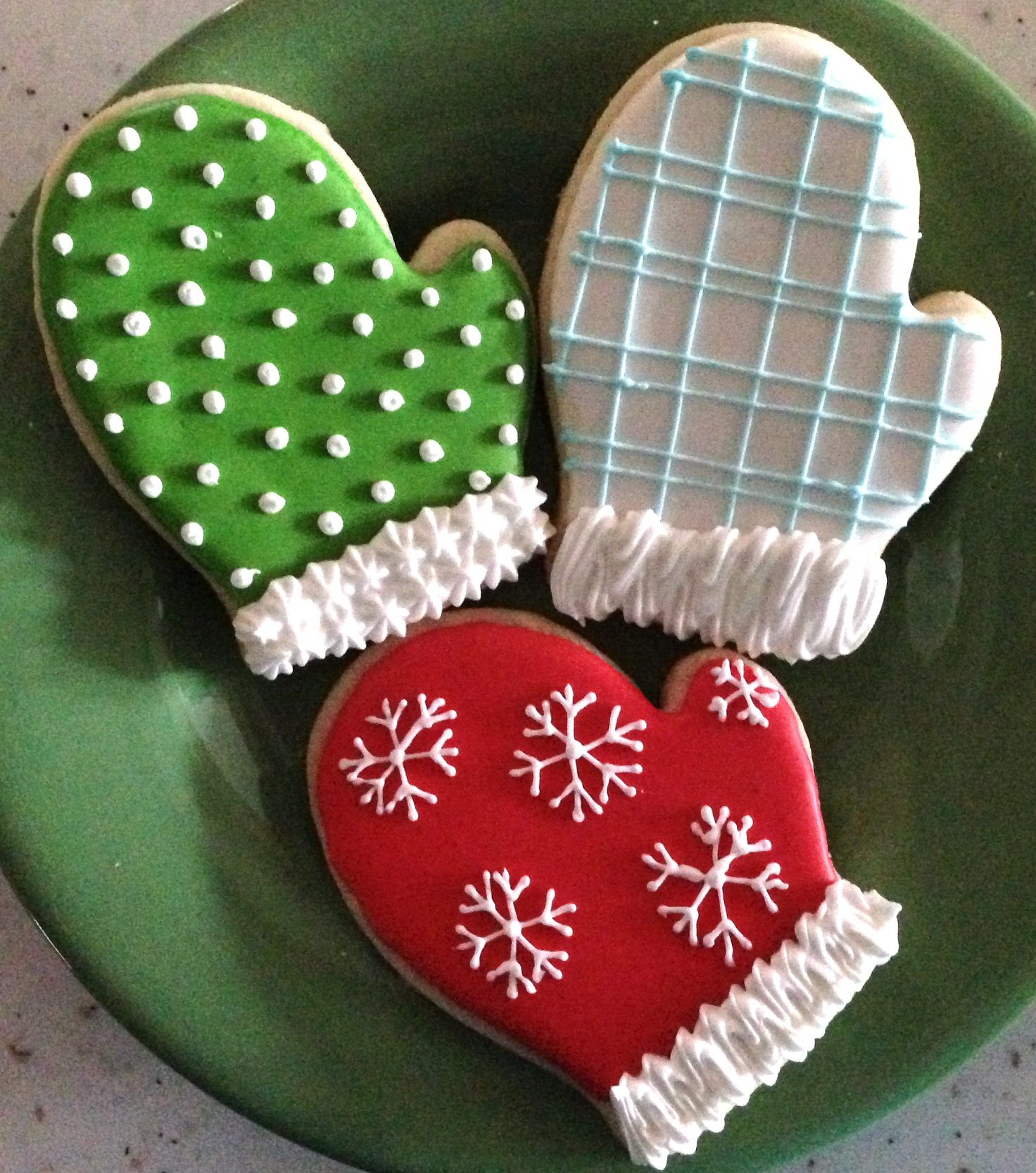 Christmas Mittens Decorated With Royal Icing