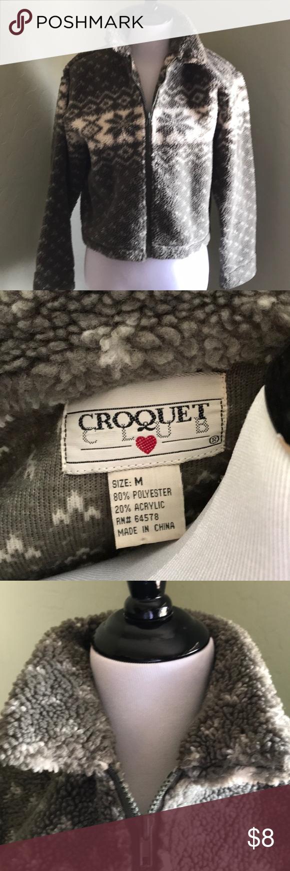 Vintage crop fleece jacket by croquet club medium in my posh