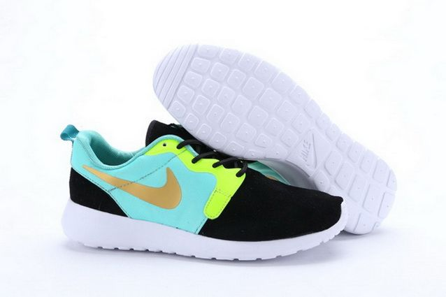 New Nike Roshe Run Mens Shoes Fur Waterproof Black Green Silver