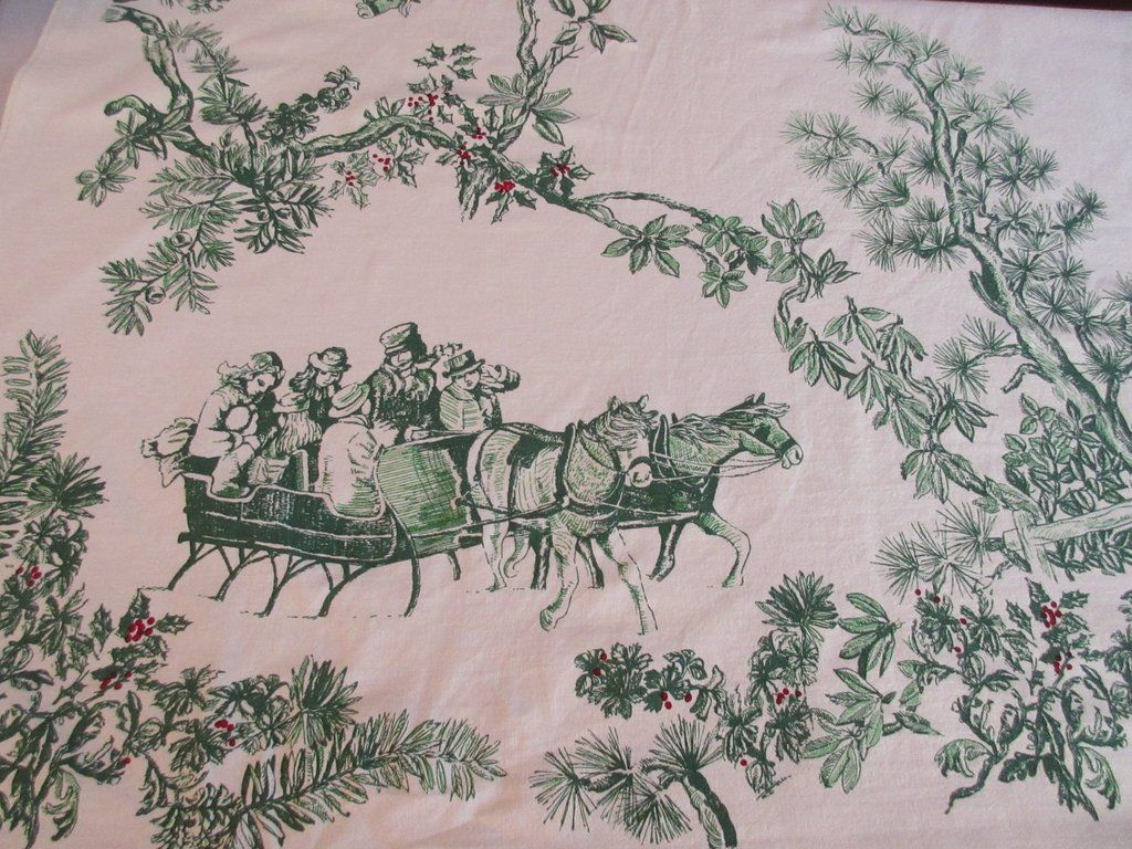 Rare Vera Victorian Sleigh Ride Holiday Christmas Novelty Vintage Printed  Tablecloth (74 X 60)