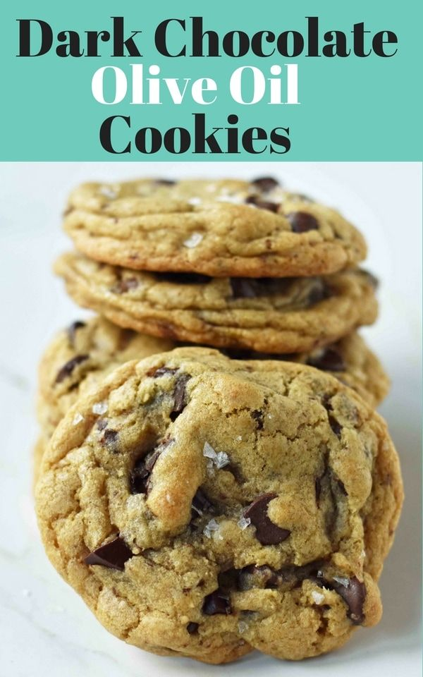 Dark Chocolate Chunk Olive Oil Cookies. Chewy and crispy chocolate chip cookies made with olive oil and butter. The perfect chocolate chip cookie with oil. www.modernhoney.com #oliveoils