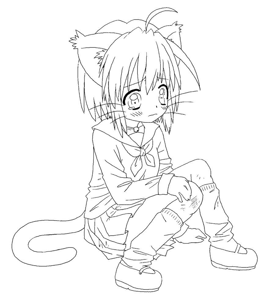 Kitty Girl Line Art Chibi Coloring Pages Cartoon Coloring Pages Cat Coloring Book