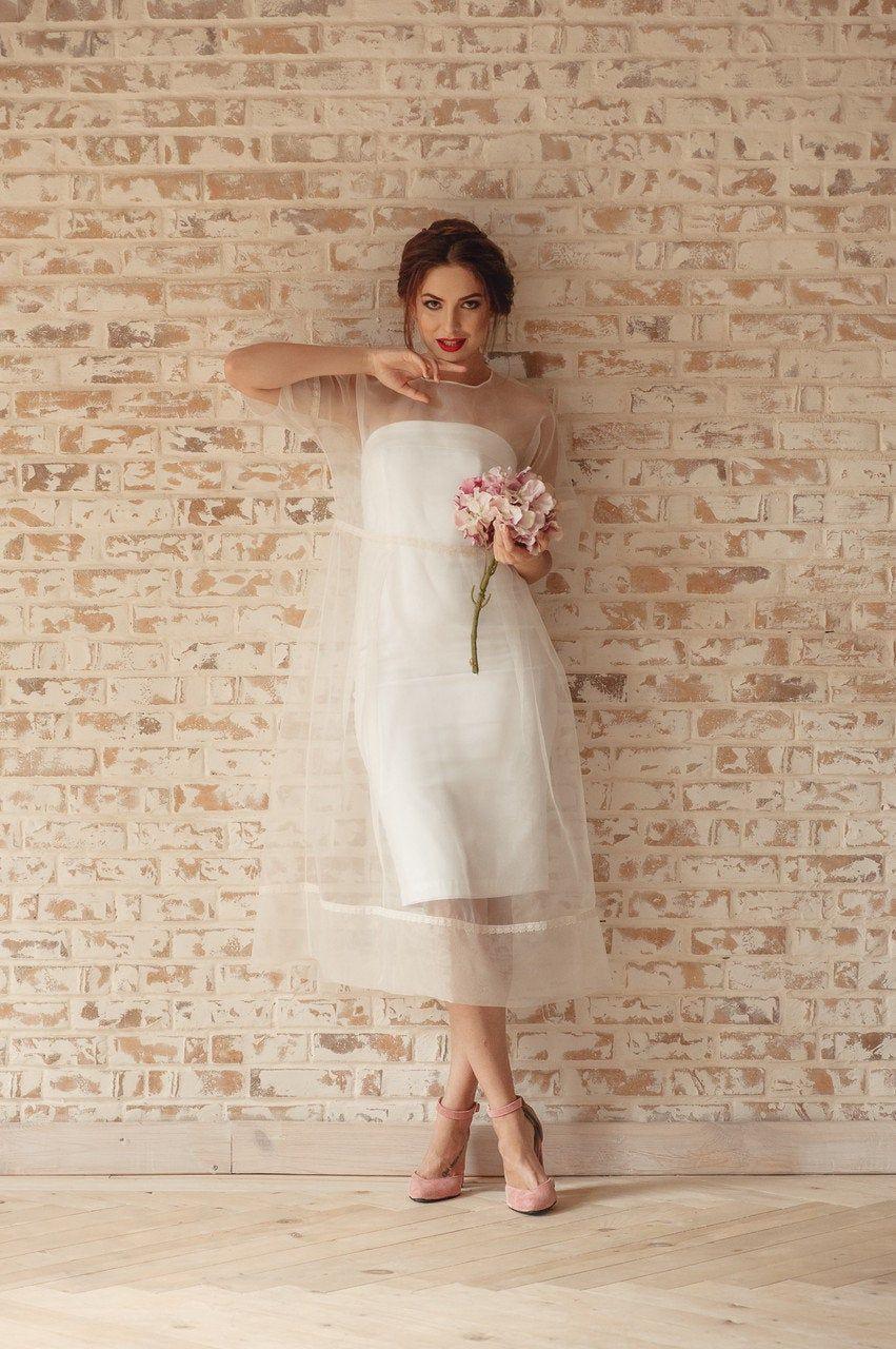 Modern Wedding Dress With Sheer Midi Tea Length Sheath Wedding