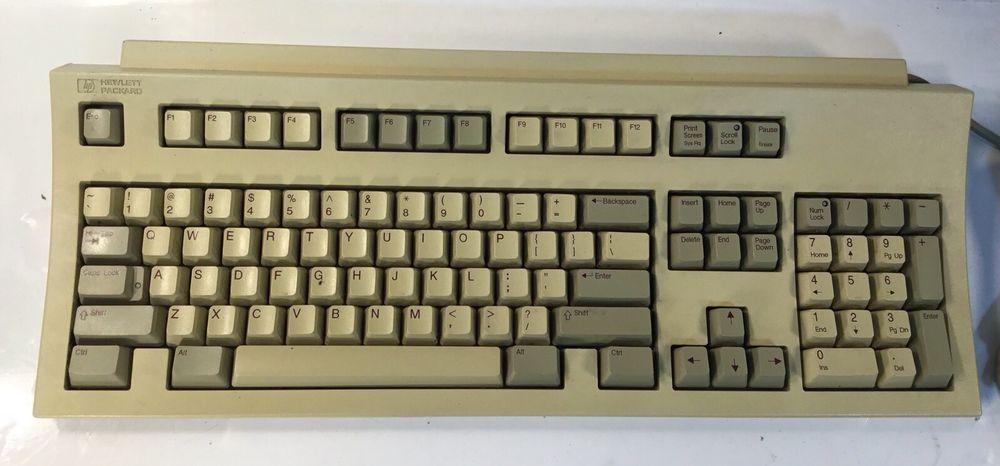 Vintage Hp Hewlett Packard Ps 2 Terminal Keyboard C3753a C7353 60201 Tested Hp Hewlett Packard Packard Hewlett