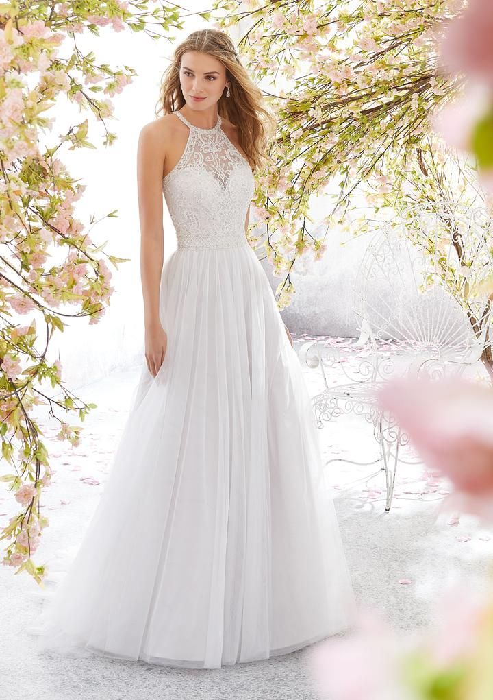 Voyage by Mori Lee 6898 Leilani Halter A-Line with a Keyhole Back Wedd – Off White
