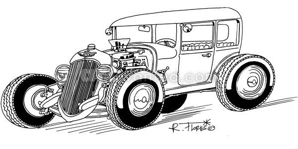Black and white hot rod cartoon by Roberto Flores at ArtWanted.com ...