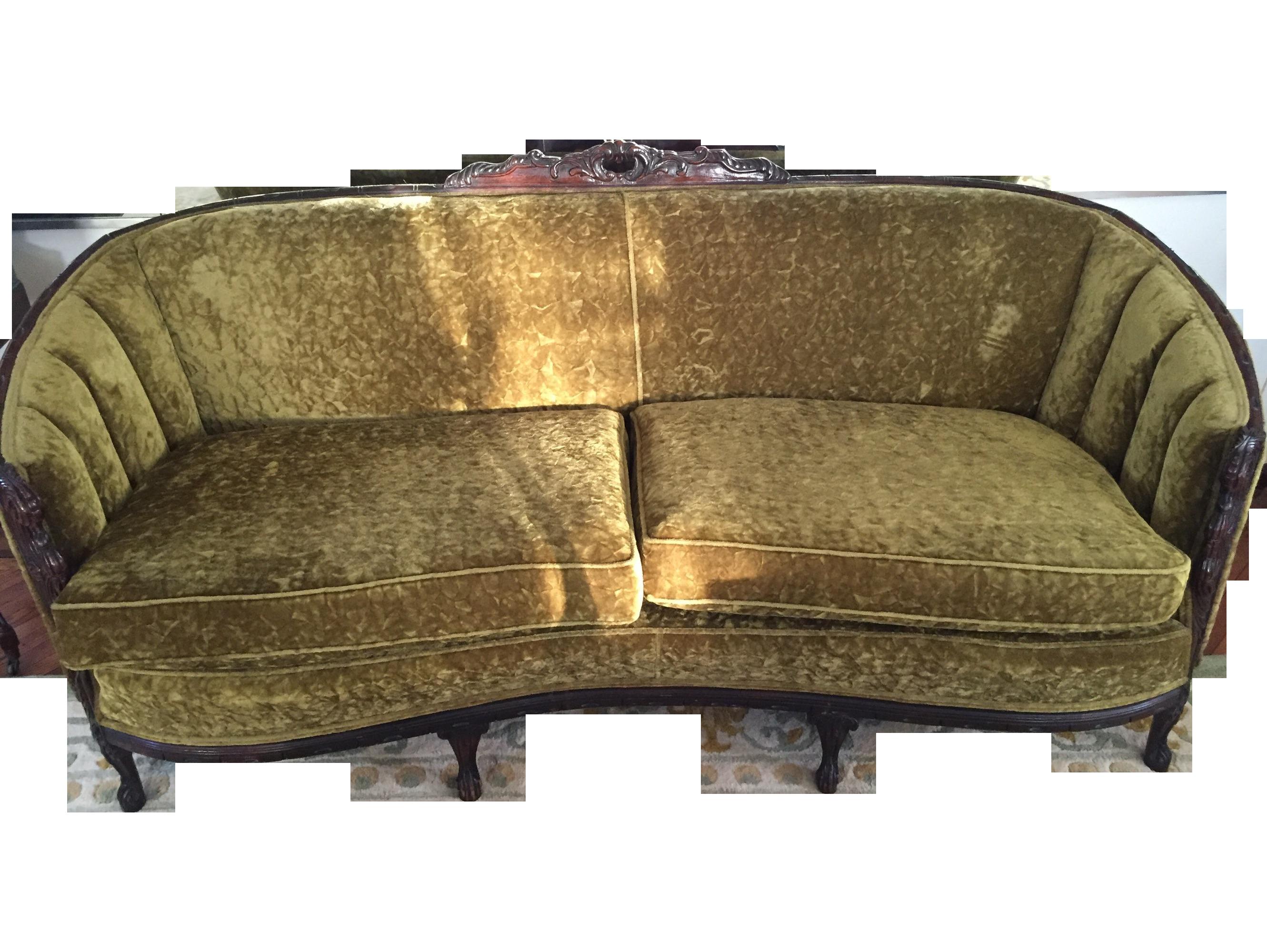 wood dark green vintage sofa frame w long los loveseat furniture velvet i angeles