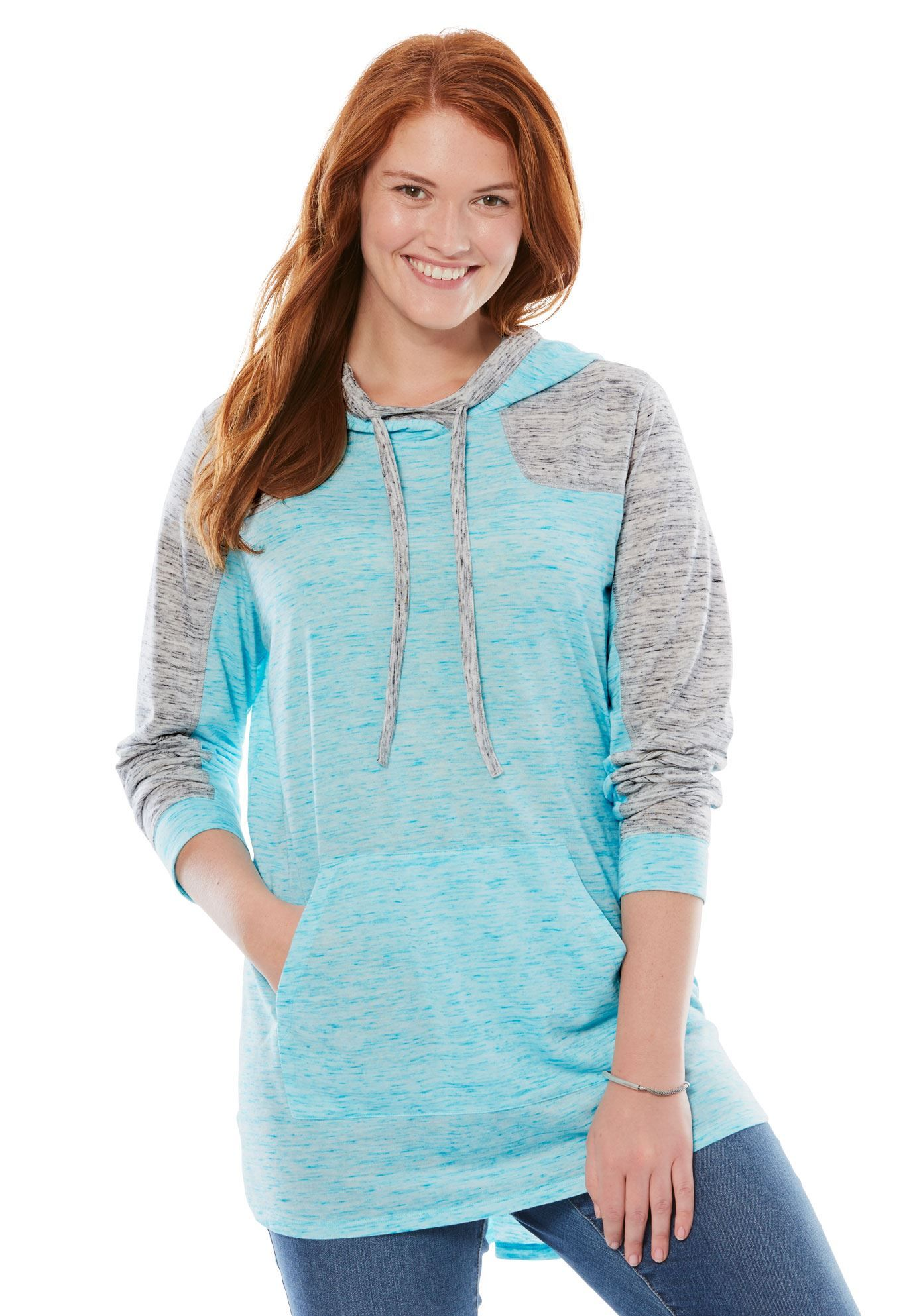 2474f77bd726d Marled Colorblock Hoodie - Women s Plus Size Clothing