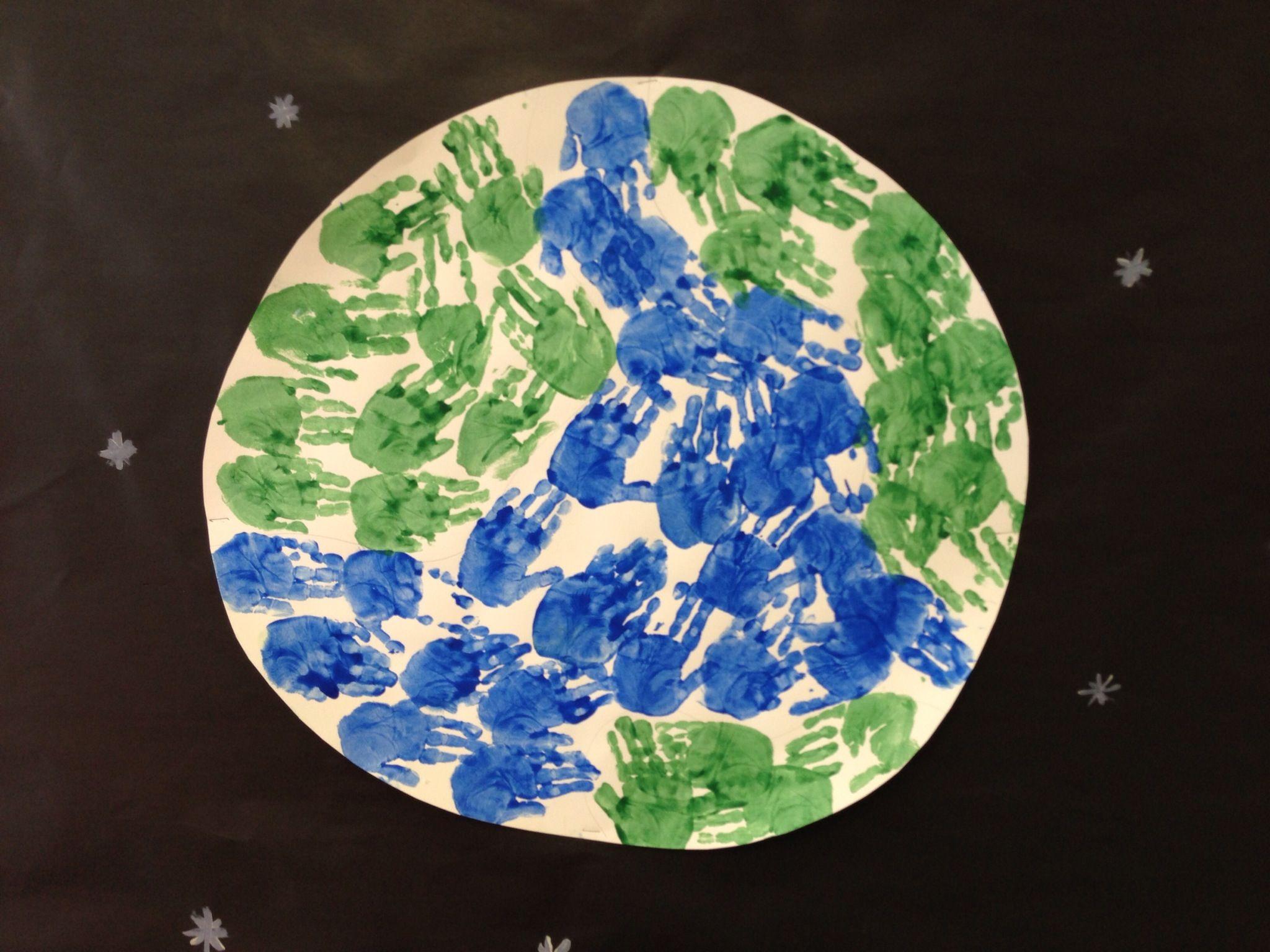 Handprint Planet Earth Bulletin Board | In the classroom | Pinterest ...