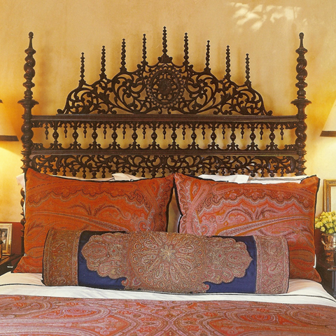 If you want to recreate this look take a look at www.bringingitallbackhome.co.uk for Indian carved wooden beds and traditional textiles