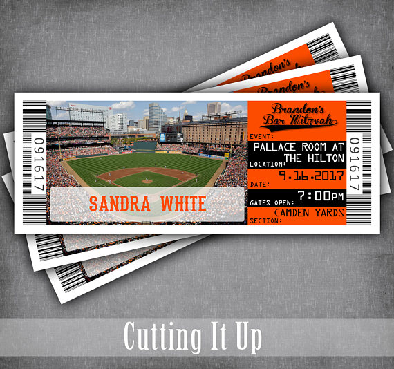 Baseball Bar Mitzvah Escort Cards, Bat Mitzvah, Seating Cards - party ticket template