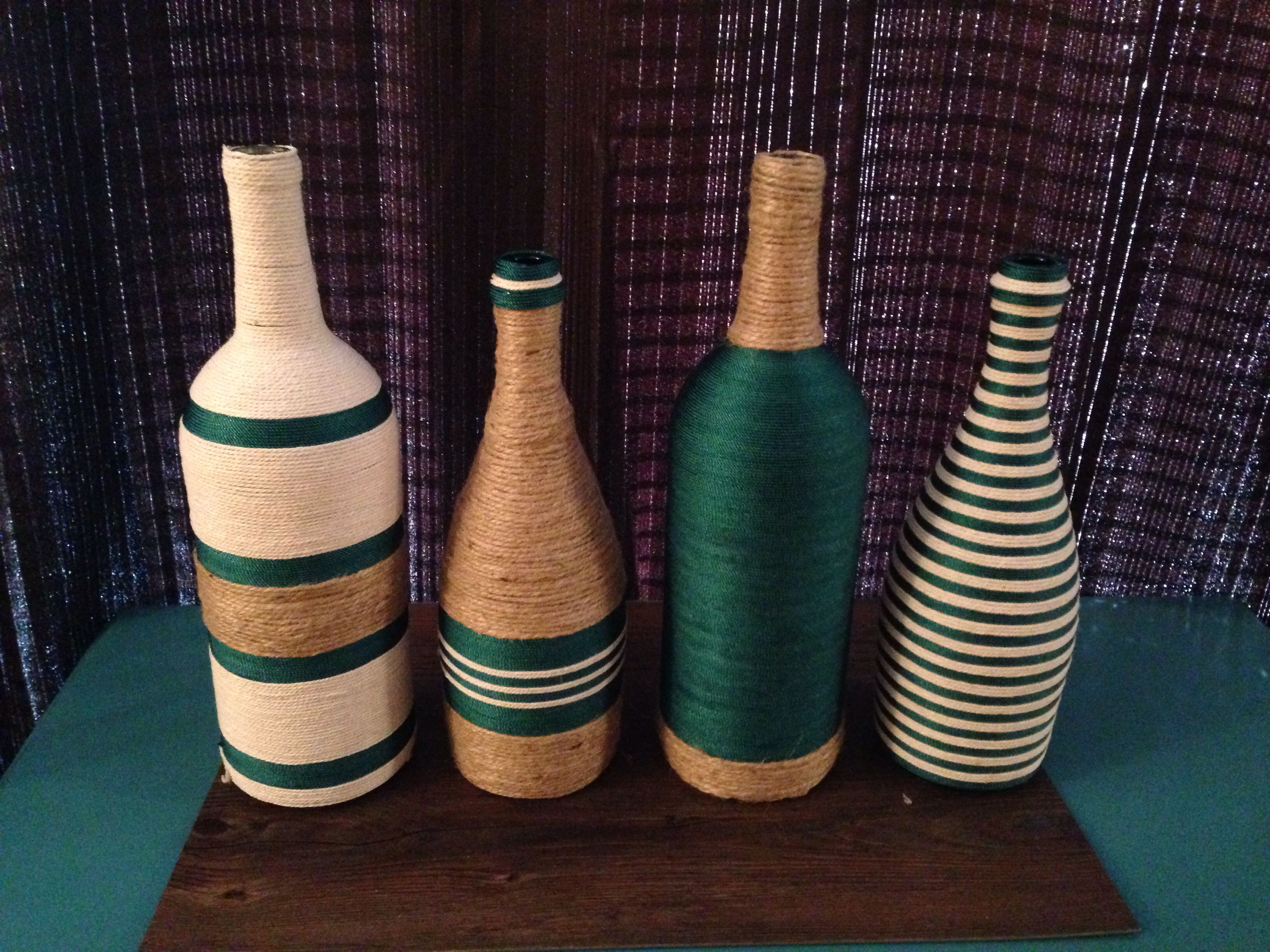 Wine bottle craft all you need it fabric glue and you are for Wine bottle arts and crafts
