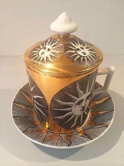 Piero Fornasetti designed lidded mug with saucer, sun pattern