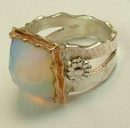 Elegant opalit silver and gold Israeli ring Designer by Bluenoemi