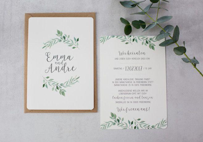Hochzeitseinladung Wedding Invitation, Eukalyptus Baby Blue, Vintage, Boho  Hochzeit, Für Deine Scheunenhochzeit