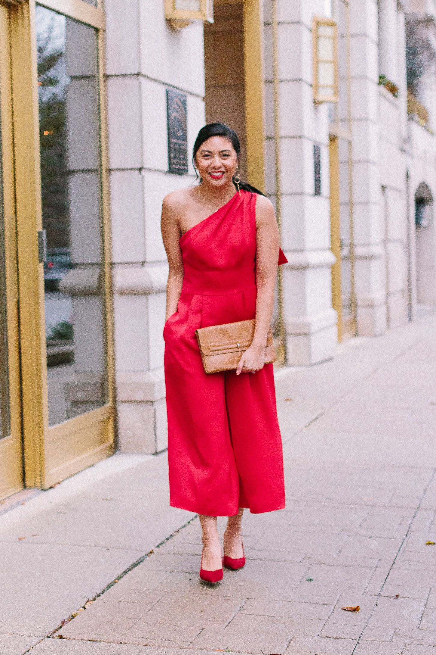 58be8e278c9 The Best Red Jumpsuit For The Holidays From The Gal Meets Glam Collection.     Carmen Jumpsuit    What to Wear to a Holiday Party    How to wear a red  ...